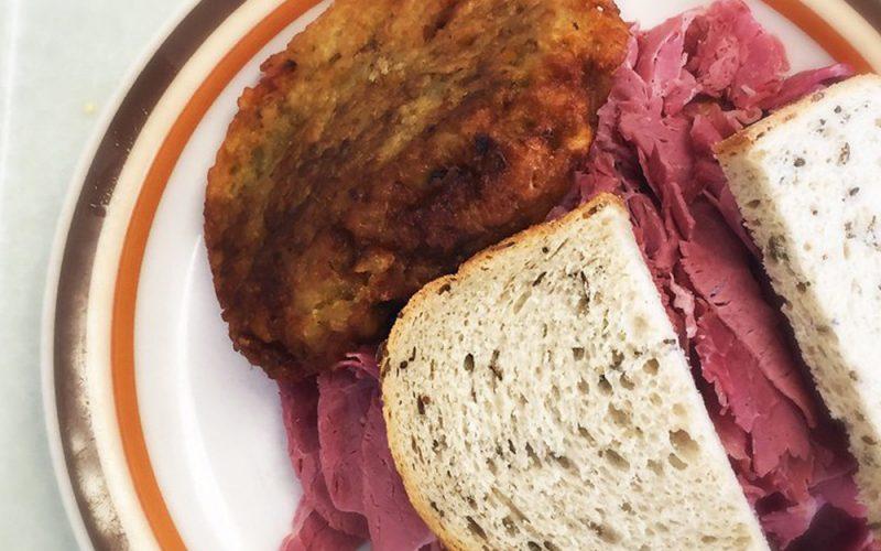 manny's deli sandwich on cambro tray